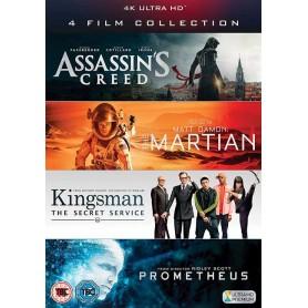 4 UHD Film Collection (Assassin's Creed, The Martian, Kingsman & Prometheus) (4K+ Blu-ray)