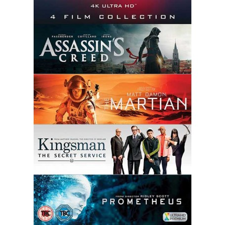 4 UHD Film Collection (Assassin's Creed, The Martian, Kingsman & Prometheus) (4K+ Blu-ray)